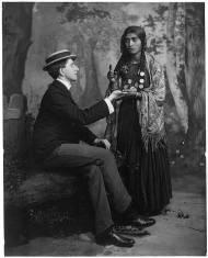 Gypsy woman reading man's palm